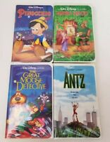 Walt Disney Bundle VHS Tapes Set of 4 Pinocchio Robin Hood Great Mouse Detective