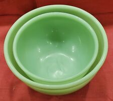 Fire King Jadeite Mixing Bowl Set/2 Beaded Edge 6 inch & 7-1/4 Inch