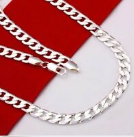 "Sterling Silver Silver 4mm Flat Curb Chain 40-60 cm Chains (16""-24"") ""Clearance"""