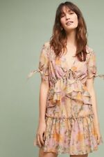 9c767d4fe24a9 NWT Anthropologie Finders Pink Madaket Petite Tiered Ruffled Party Dress M