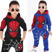 Kids Boy 2Pcs Spiderman Clothes Hooded Sweatshirt Tops + Pants Tracksuit Outfits