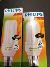 2 Energy Saving light bulbs. One 14 Watt One 11 Watt. New. Philips Brand.