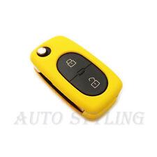 GIALLO Copertura Chiave per VW 2 Bottoni Caso Fob remoto PROTEGGI AUTO OVALE ROUND 42y