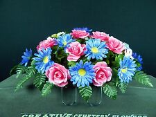 Deluxe Cemetery Silk Flower Memorial Headstone/Tombstone Saddle/Grave Pillow