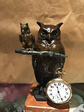 Early 20th C  Bronze 2 Owl Pocket Watch Holder Signed M.LeVerrier French