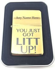 """Personalised Lighter, Gold Colour + Gift Tin, """"You just got Litt UP!"""". Suits"""