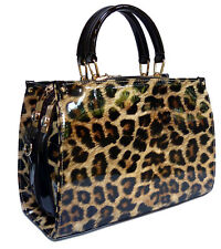 Black Patent Handbag Leopard Print Bag PU Leather Designer Animal Tote Shoulder
