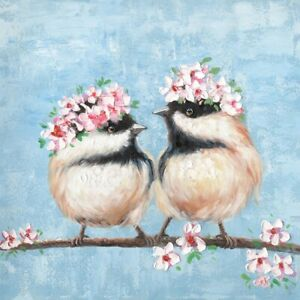 Birds couple canvas print stretched wall art home decor painting Picture 50*50cm