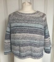 Ladies FatFace Grey Blue White Striped Cropped 3/4 Sleeve Jumper Size S/M B63