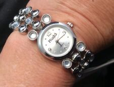 MUDD Ladies Silver Tone Quartz Watch With Crystal Rhinestone Bracelet Works