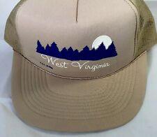 VTG NWOT West Virginia Mountains Mesh Hat Snapback Trucker Cap 1985 Beige Tan