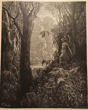 SATAN IN PARADISE BY GUSTAVE DORE c.1889 PRINT