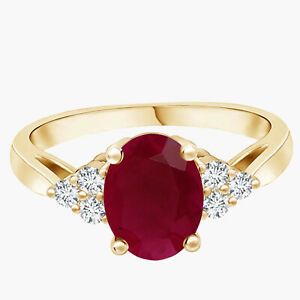 1.5 Cts Oval Ruby Gemstone With Simulated Diamond Accents 9K Yellow Gold