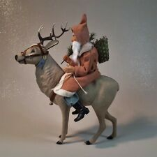 Paper mache*German Reindeer with riding Santa(pale or.)*by Paul Turner Chs20-15