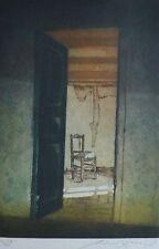 """REINHARD ZADO 1985 """" ROOM NEXT DOOR """" 74/100 HAND SIGNED ETCHING German Artist"""