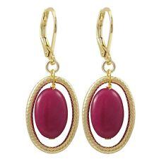 Gold Finish Ruby Jade Semi-precious Gemstone Open Oval Earring
