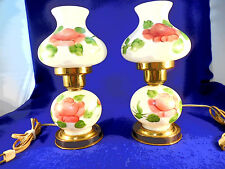 SET OF TWO MILK GLASS HURRICANE LAMPS HAND PAINTED AND SIGNED