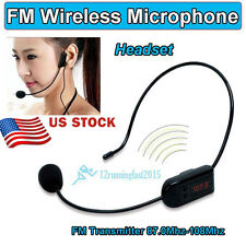 87-108Mhz Radio FM Wireless Headset Microphone Handsfree Mic LoudSpeaker Teacher