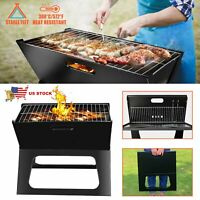 Foldable Compact Charcoal Barbecue BBQ Grill Stove Shish Kabob Camping Cooker
