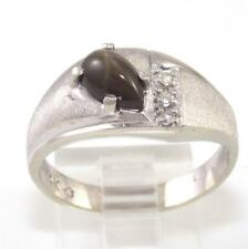 Solid 14K White Gold Brown Star Sapphire Diamond Ring Size 9.5
