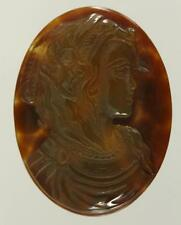 Vintage Estate Jewelry Hand Carved BLOODSTONE Oval Cameo Cabachon 37MM x 28MM