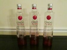 Lot of 3 Empty 1 Liter 1000 ML Ciroc Red Berry Vodka Bottles,  With Caps