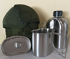 MILITARY STAINLESS STEEL STYLE CANTEEN WITH CUP,1.3LITER (44oz.)AND LID.