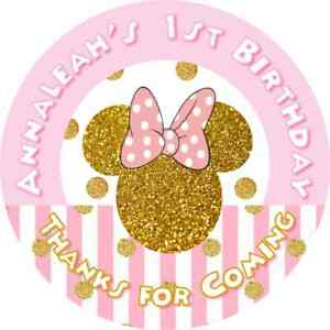 MINNIE MOUSE PINK AND GOLD GLITTER  BIRTHDAY PARTY ROUND STICKERS LABELS FAVORS
