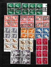 Az2N Japan Blocks of 4 & 6 used, S.O.N. Postmarks Osaka Yokohama