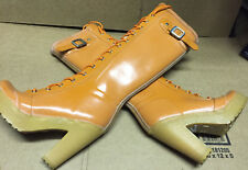 "Hunter Lapins Orange 4"" Heel Lace Up Rubber Rain Boots US5 EU36 EUC Gummistiefel"