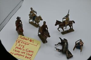 4 Mounted Knights and 1 Mounted King Paint Ok Most Weapons Bent Made in France