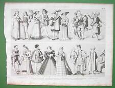 FASHION Renaissance Era Russia Spain Bride Trooper etc - SUPERB Antique Print