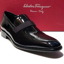 Ferragamo ANTOANE Patent Leather Formal 7 D Men's Dress Loafers Tuxedo Wedding