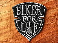 BIKER FOR LIFE Sew Iron On Patch Embroidered Choppers Outlaw 1% Vest Jacket
