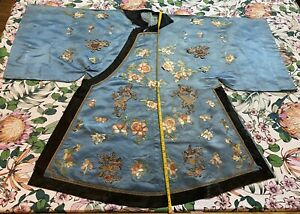 Antique Chinese Silk Hand Embroidered Robe Qing Dynasty Shy Blue Color Patchwork
