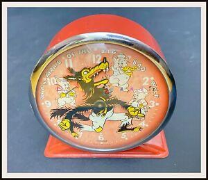 ⭐ THREE LITTLE PIGS and WOLF Disney Ingersoll Alarm Clock 1934 - DISNEYANA.IT ⭐