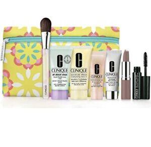 Clinique 8 PCS Travel Size Makeup Deluxe Sample Gift Set Flower Bag