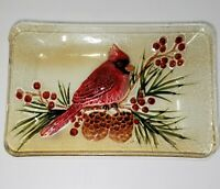 "Cardinal Bird Glass Tray Decorative Red 11"" x 7"" Yellow Tone Berries Pinecones"