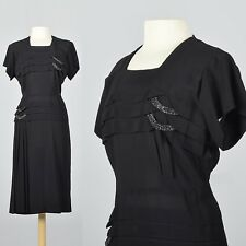 XL-XXL 1950s Dress Black Rayon Cocktail Evening Short Sleeve VTG 50s Plus Size