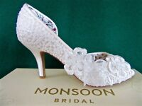 New MONSOON Uk4 37 Ivory Peep-Toe BELLA Vintage LACE Floral Bridal Wedding Shoes
