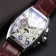 Luxury Automatic MOON PHASE Dial Mechanical Watch Men Vintage Leather Band Case