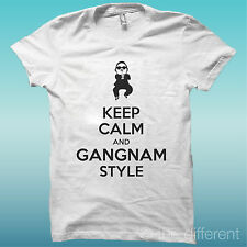 T-SHIRT KEEP KALM AND GANGNAM STYLE BIANCO THE HAPPINESS IS HAVE MY T-SHIRT NEW