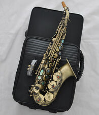 High grade Antique curved sax soprano saxophone high F# key Abalone shell key