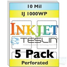 Inkjet Teslin Paper - 8up Perforated - For Making PVC-Like ID Cards - 5 Sheets