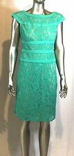 NWT Adrianna Papell Teal and beige crochet style dress Size 4