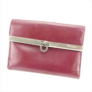 Salvatore Ferragamo Wallet Purse Ganchini Red Silver Woman Authentic Used T6124