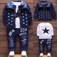 Kids Toddler Baby Boy T-shirt Tops+Jeans Pants+Denim Jacket Coat 3PCS Clothes UK