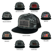 US American Flag Embroidered Patch Adjustable Flat Bill Camo Trucker Cap - BNB