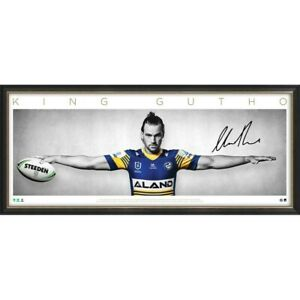 Clint Gutherson Signed Parramatta Eels Official NRL Wings Print Framed In Stock