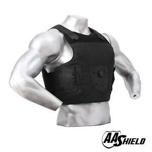 AA Shield Ballistic Vest Body Armor Dial Buckle Concealable Suit Vest M/L BK